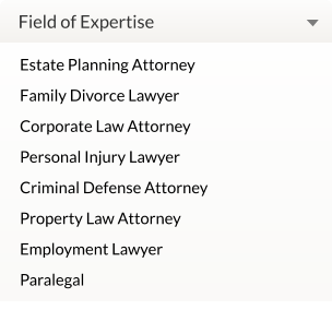 Field of Expertise Estate Planning Attorney Family Divorce Lawyer Corporate Law Attorney Personal Injury Lawyer Criminal Defense Attorney Property Law Attorney Employment Lawyer Paralegal